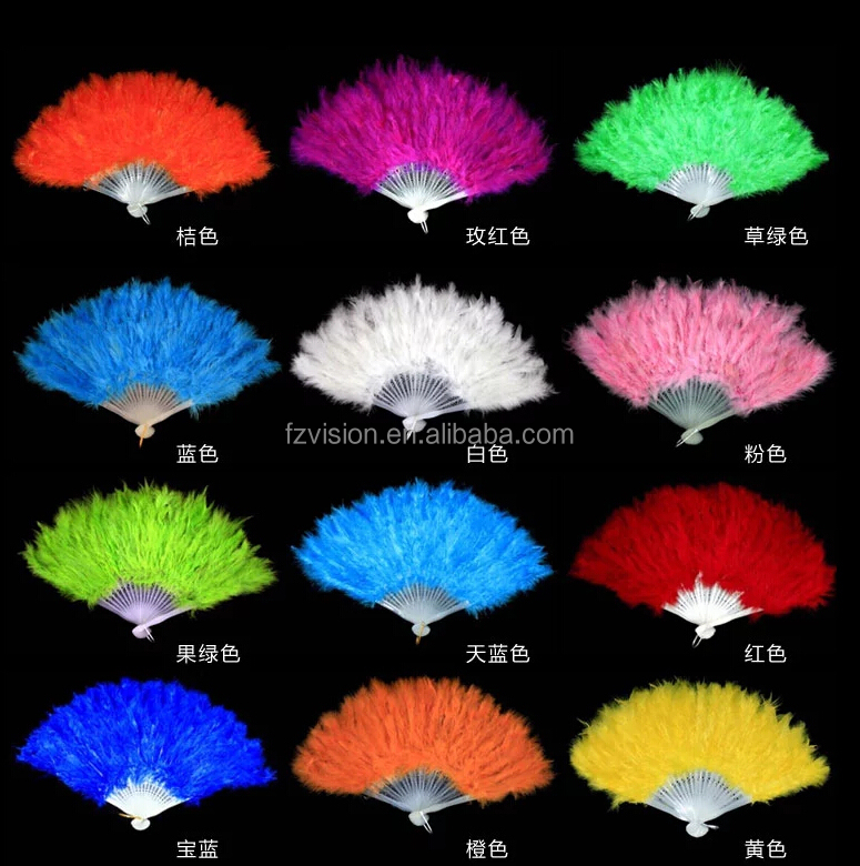 Wholesale color green red white black wedding belly dance feather fan foldable hand fan