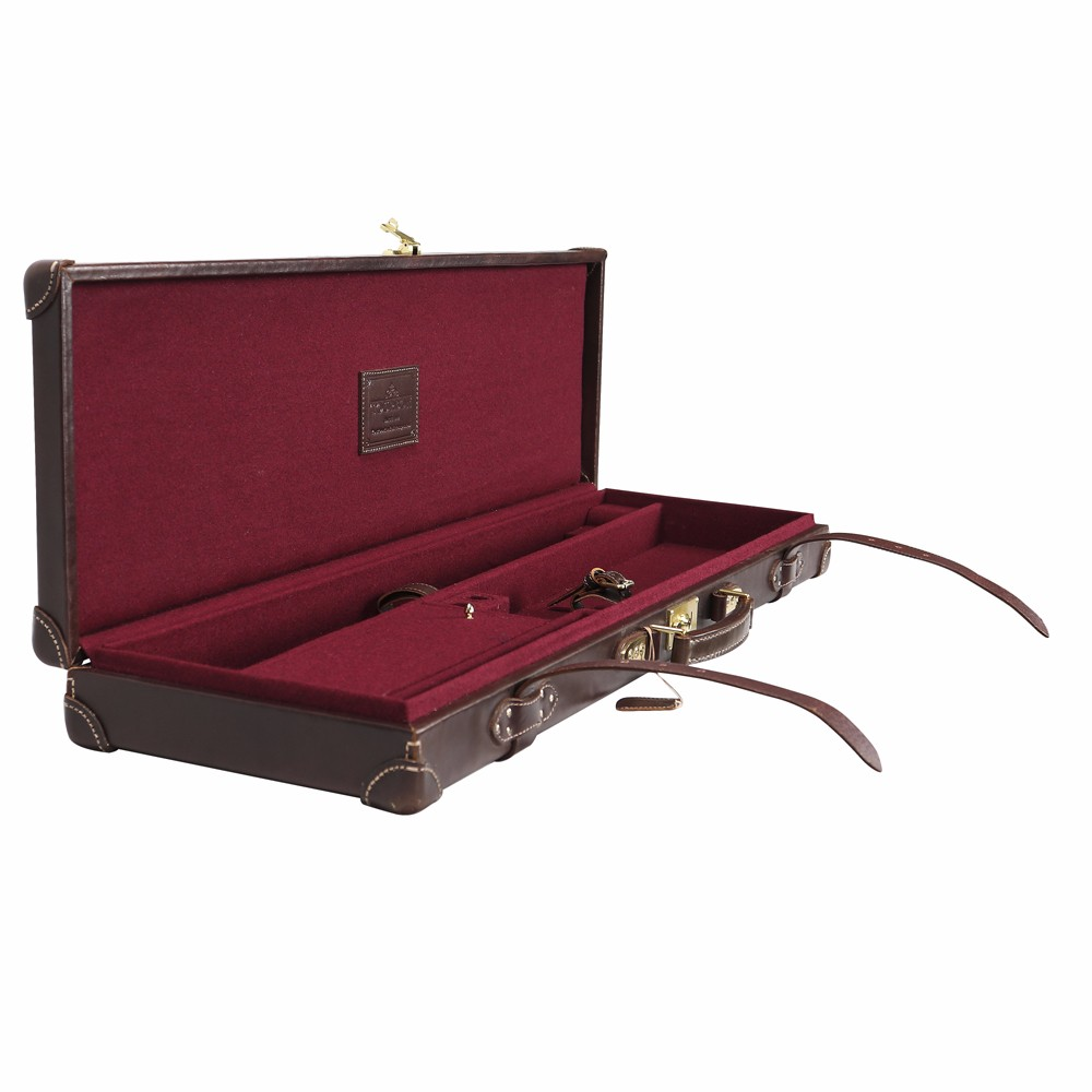 TOURBON antieke behandeld vintage look lederen shotgun gun case