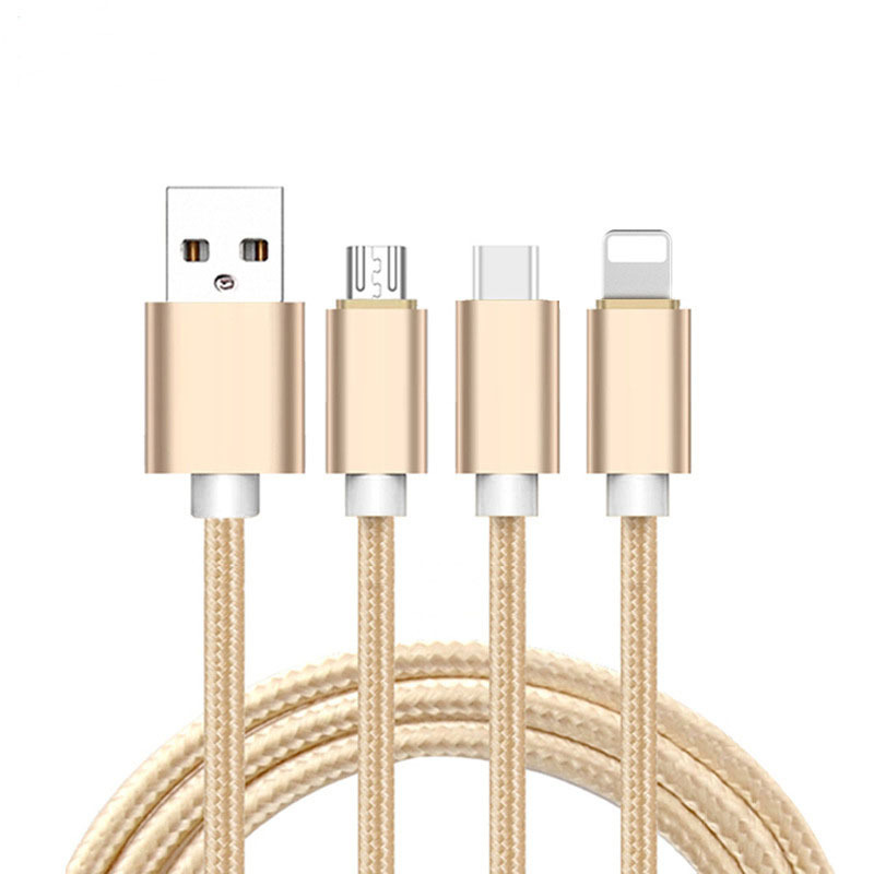 New Trending 3 in 1 USB Charging Charger And Date Sync Cable For iPhone & Micro USB & Type c фото
