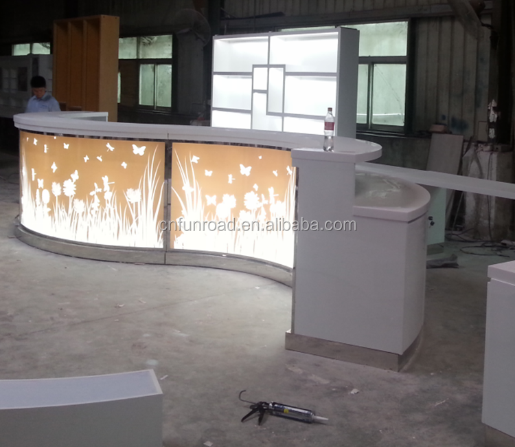 modern shop curved counter design reception counter table