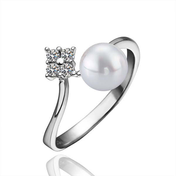 Romantic Style 925 Sterling Silver Round Pearl Best Anniversary Gift wedding ring with square CZ diamond For Girlfriend