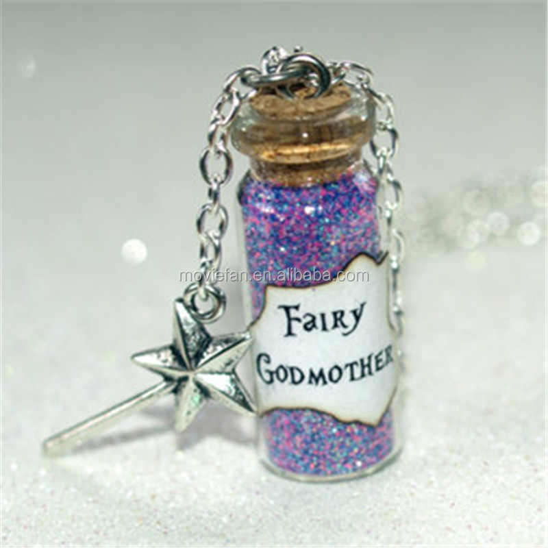 Fairy Godmother glass Bottle Necklace with Magic Wand Charm Cinderella necklace