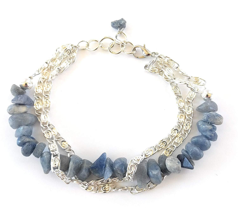 Blue Quartz Gemstone Layered Chain Bracelet