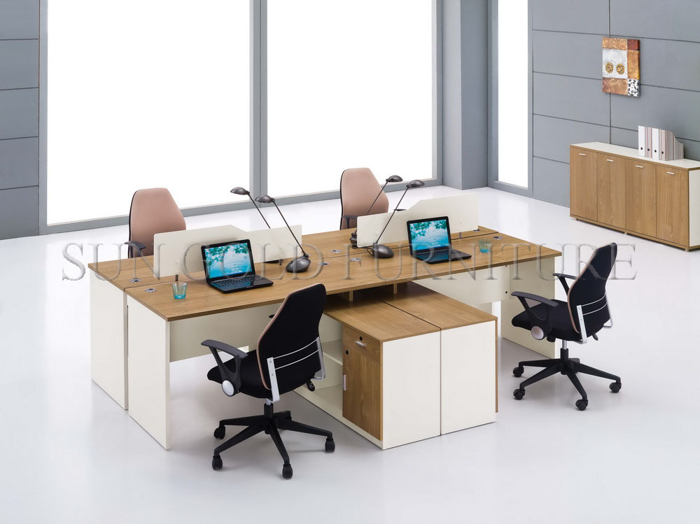 mdf office furniture 4 seat workstation cubicles in modern