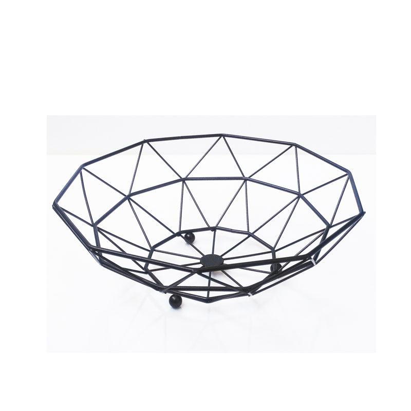 Kitchen Storage Empty Decorative Custom Made Black Metal Fruit Basket