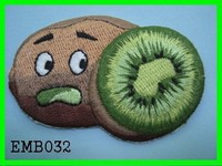 Scared Kiwifruit Embroidery With Strass Patches For Boy T shirt
