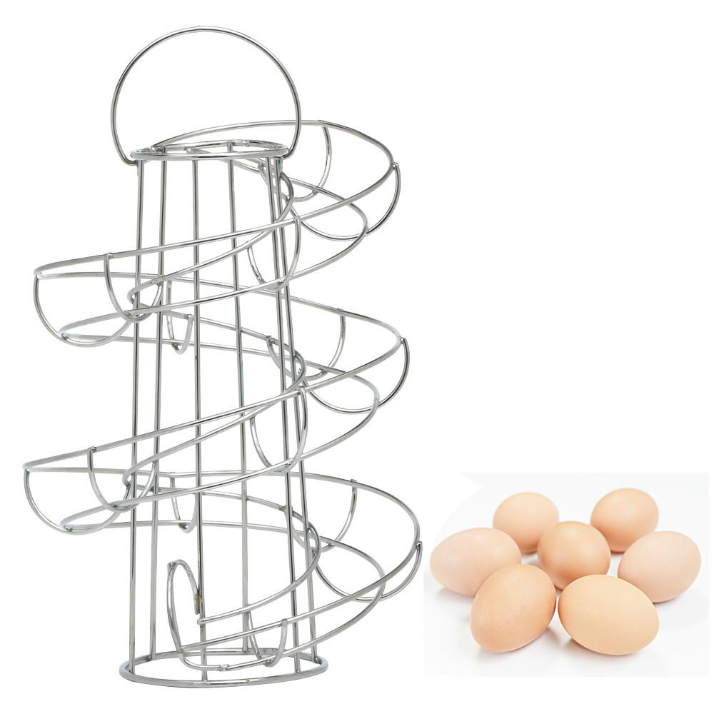 Metal 18 Eggs Stand Spiral Rack Twist Holder Swirl Egg Chrome-plated