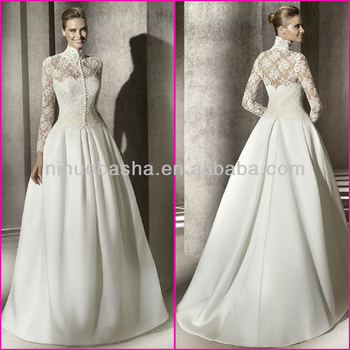 Ivory White Lace Top Bodice Satin Skirt Ball Gown Bridal Dresses ...