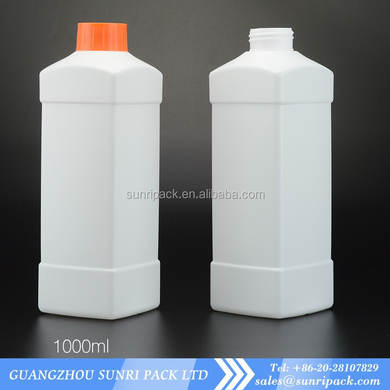 empty 1000ml 1L big size chemical use HDPE plastic bottles kitchen cleaner bottle
