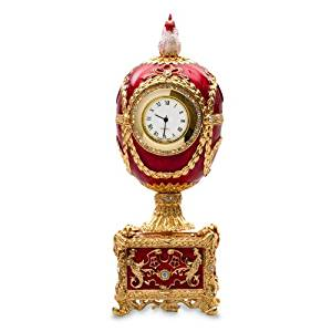 Swarovski Crystals Chicken with Clock Red Gold Plated Faberge Style Egg Box Figurine Limited Edition Collectible Faberge Reproduction
