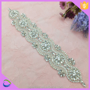 Bridal Beaded Rhinestone Embroidered Iron on Patch Wholesale Appliques