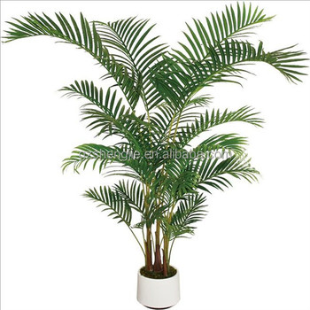 Faux Tree Office Decoration Artificial Small Palm Green Bonsai Plants With Pot For Indoor