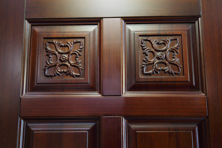 High quality luxury carving flower wooden single main door for Main door design of wood