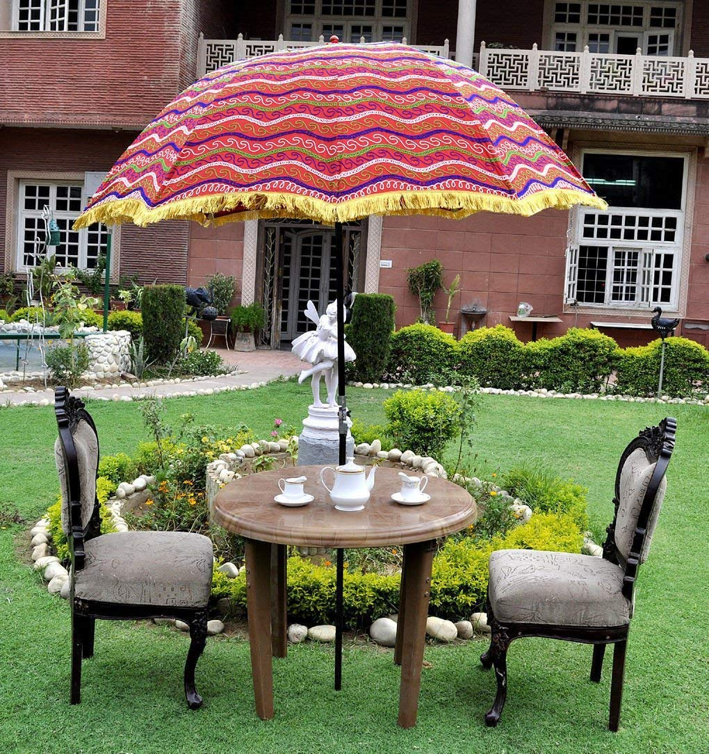 Get Quotations Megacraft 72 X 52 Indian Embroidered Outdoor Garden Red Umbrella Patio Sun Parasol Cotton