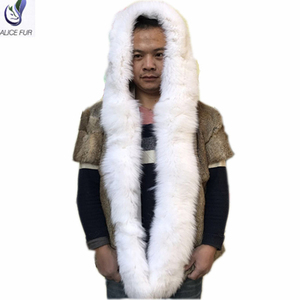 ALICEFUR Wholesale price new design hooded rabbit men fur coats with long fox fur trim for sale