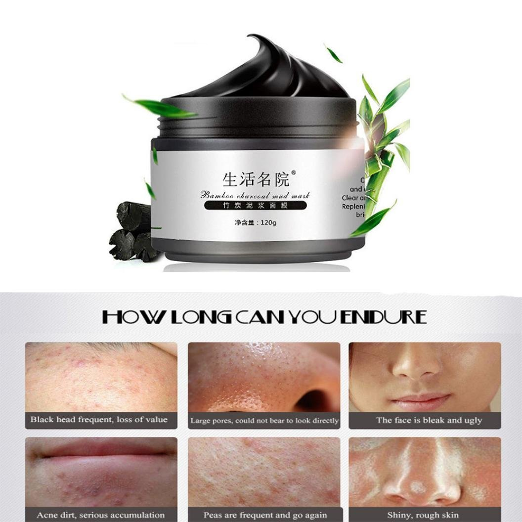 Blackhead Remover Mask, LandFox Bamboo Charcoal Blackhead Remover Deep Clean Purify Peel Off Mud Face Mask
