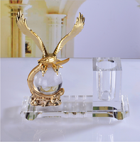 luxurious handmade office stationary crystal glass pen holder with golden eagle for business gifts