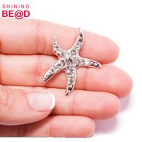 Wholesale Rhinestone Silver Starfish Destination Wedding Supplies, Buckle & Ribbon Slider