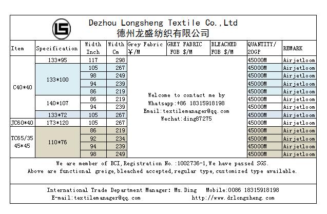 White Calico fabric /Cretonne Roll Fabric 40*40*128*68 240cm