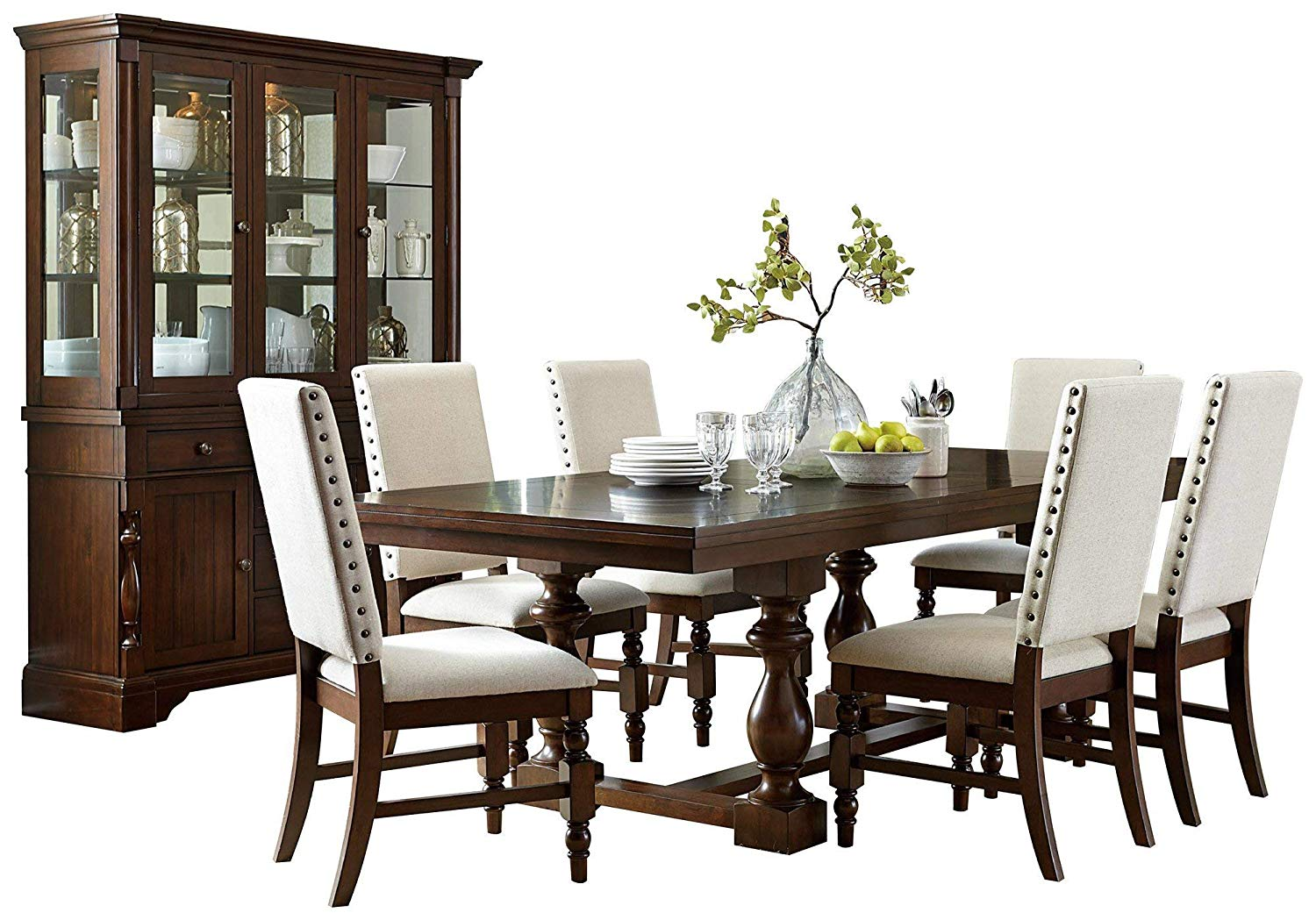 Get Quotations Yancy Rustic Country 8pc Dining Set Table 6 Fabric Chair Buffet Hutch In