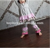 2015 Fall girl cotton clothes children's clothing sets gray stripe flower vintage boutique girl ruffle set girl dress outfit