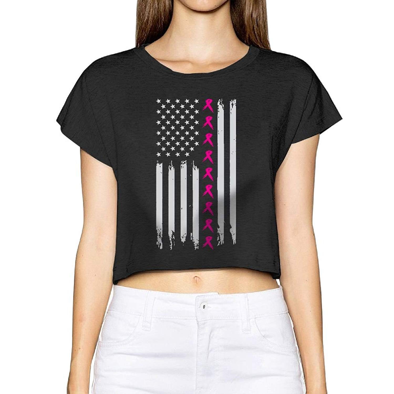 d2a21ae675e8 Get Quotations · XIWO TCC Pink Ribbon Flag Women Midriff-Baring T-Shirt  Blouse Cute Crop Top