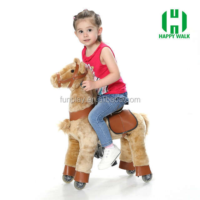 HI indoor playground lovely stuffed animals mechanical ride on horse toy pony
