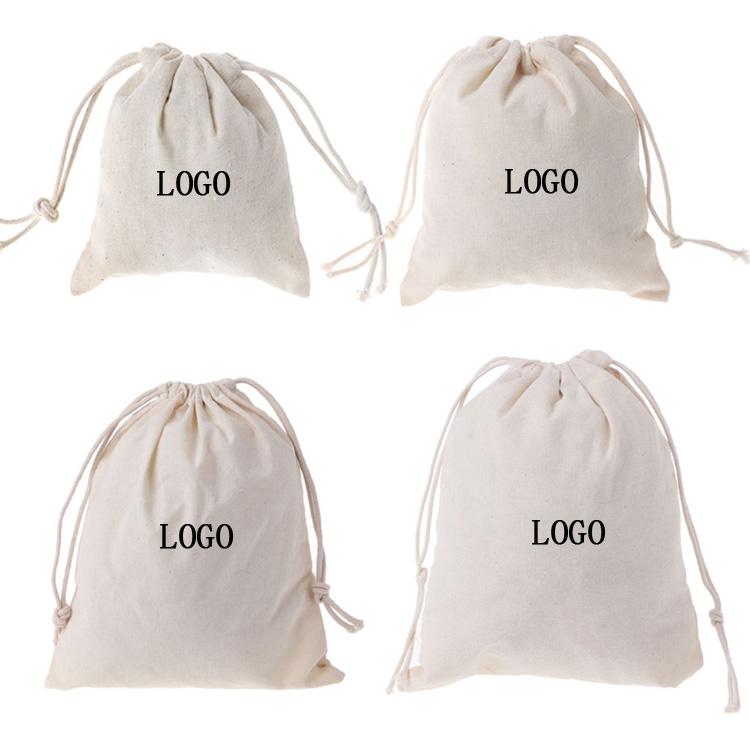 Wholesale High Quality eco friendly reusable custom logo small cotton drawstring bag