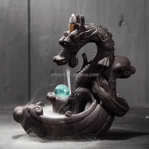 Creative Home Decor Dragon Incense Censer With Crystal Ball Ceramic Backflow Incense Burner
