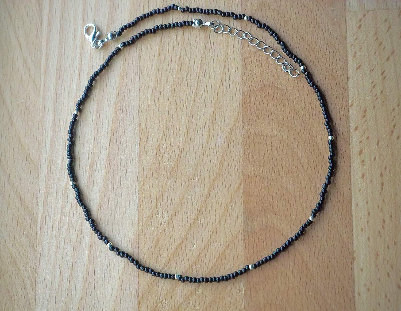Black Choker Necklace, Dainty Choker Necklace, Beaded Choker necklace, Handmade Seed bead choker, Sterling Silver Necklace, Minimalist Thin Choker