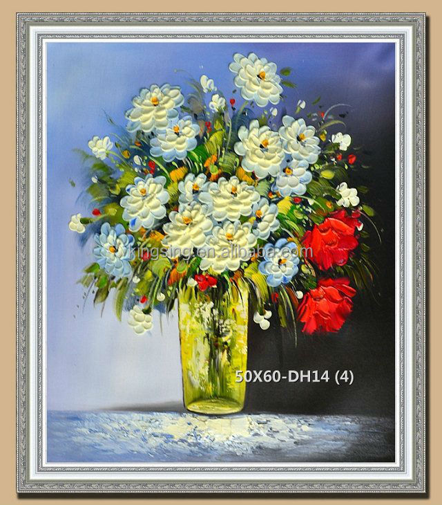 hot sale framed vase Technique thick Palette Knife Flower Oil Painting On Canvas 55354