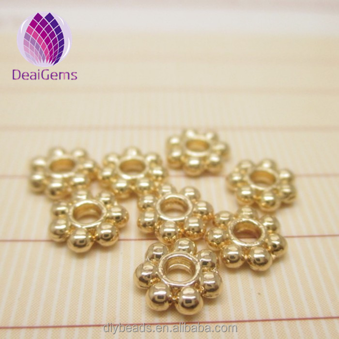 Wholesale cheap 24k plated gold spacer Round beads for DIY handmaking jewelry, Gold plating
