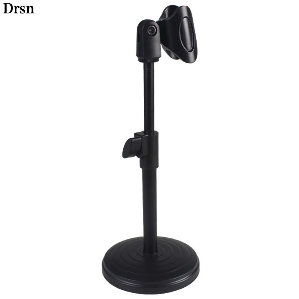 """Drsn Adjustable Desk Microphone Stand Desktop Microphone Stand Holder with Elastic Mic Clip Table Microphone Mount 180-degree Tilt 9.84-13"""" Height Adjustable for Meetings, Lectures, Podcast"""