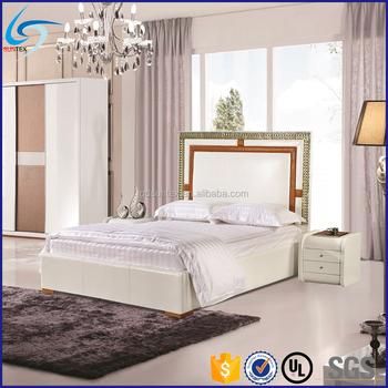 Modern Euro Style Bedroom Furniture High Headboard Luxury Leather
