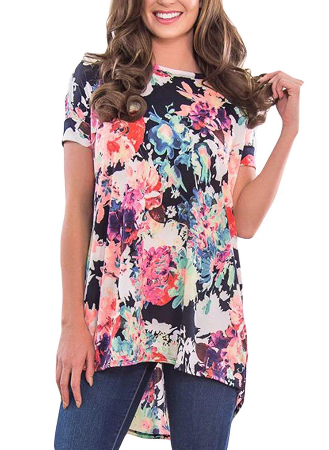 56680c18 Get Quotations · Asvivid Women's Floral Print Criss Cross Back T-Shirt High  Low Casual Tunic Tops Blouse