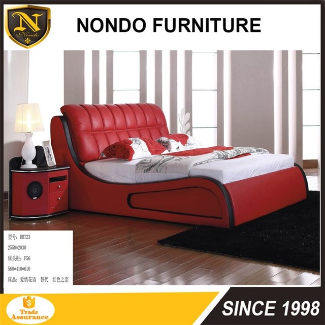 American Style Modern Fashion Bedroom Sets Soft Leather Bed In Red DR723
