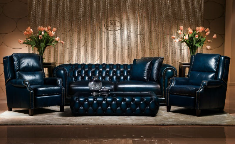 Luxury Antique Chesterfield Leather Sofa   Buy Blue Leather Sofa,Vintage Chesterfield  Sofa,Nailhead Leather Sofa Product On Alibaba.com