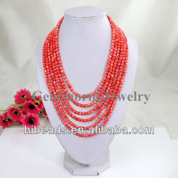 Charms 6 Rows Coral Beads Jewelry Necklace Chunky African Beads