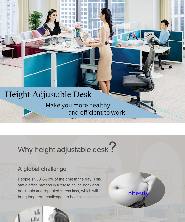 High quality ergonomic modern office furniture standing adjustable height sit stand up office desk white