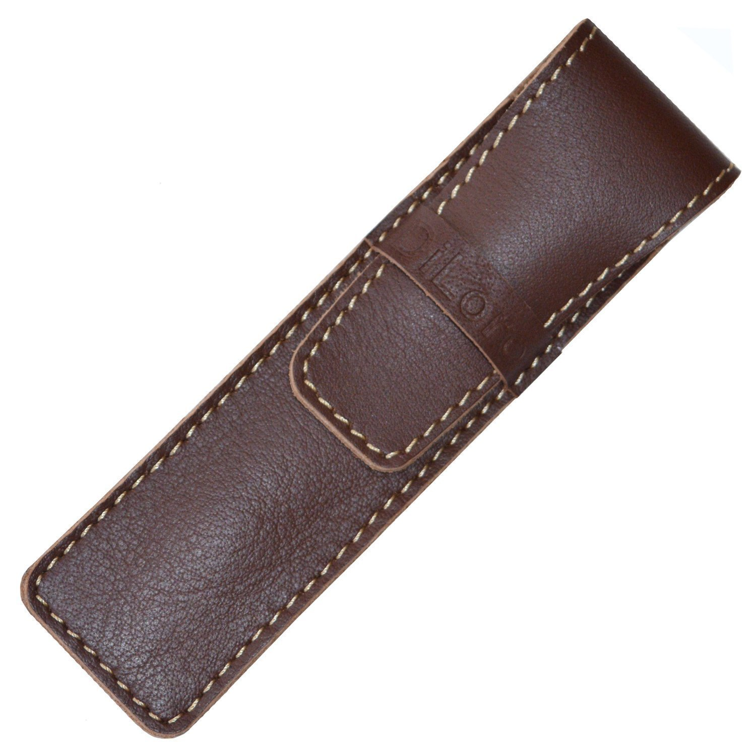 DiLoro Full Grain Top Quality Thick Buffalo Leather Single Pen Case Holder Pouch Brown