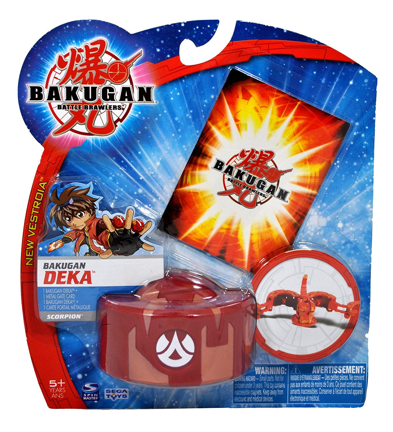 Spinmaster Bakugan Battle Brawlers New Vestroia DEKA Series Figure - Large Pyrus Red Scorpion Trap with 1 Metal Gate Card