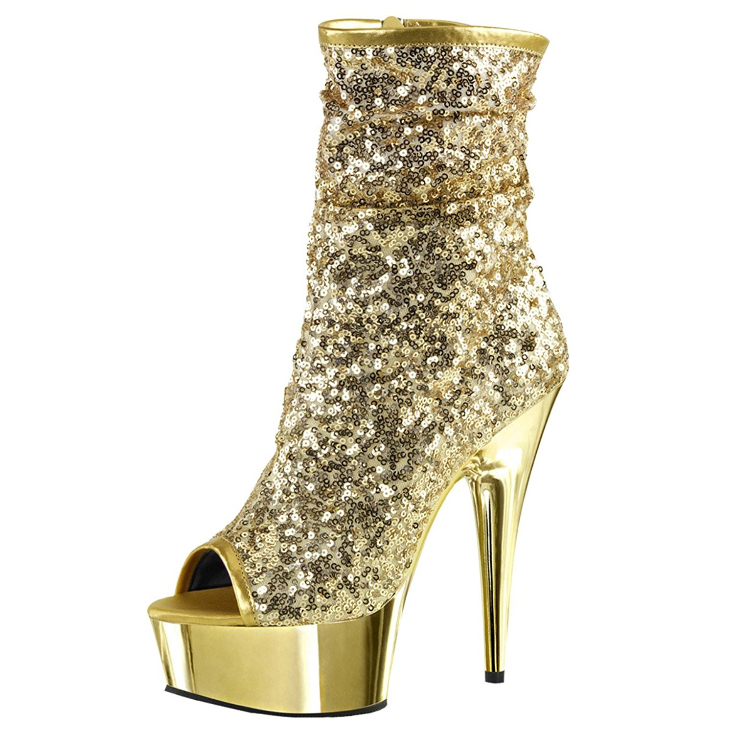 7be0b0e2a0 Get Quotations · Summitfashions Womens Gold Sparkly Heels Sequin Platform  Boots Zip Peep Toe Shoes 6 inch Heels
