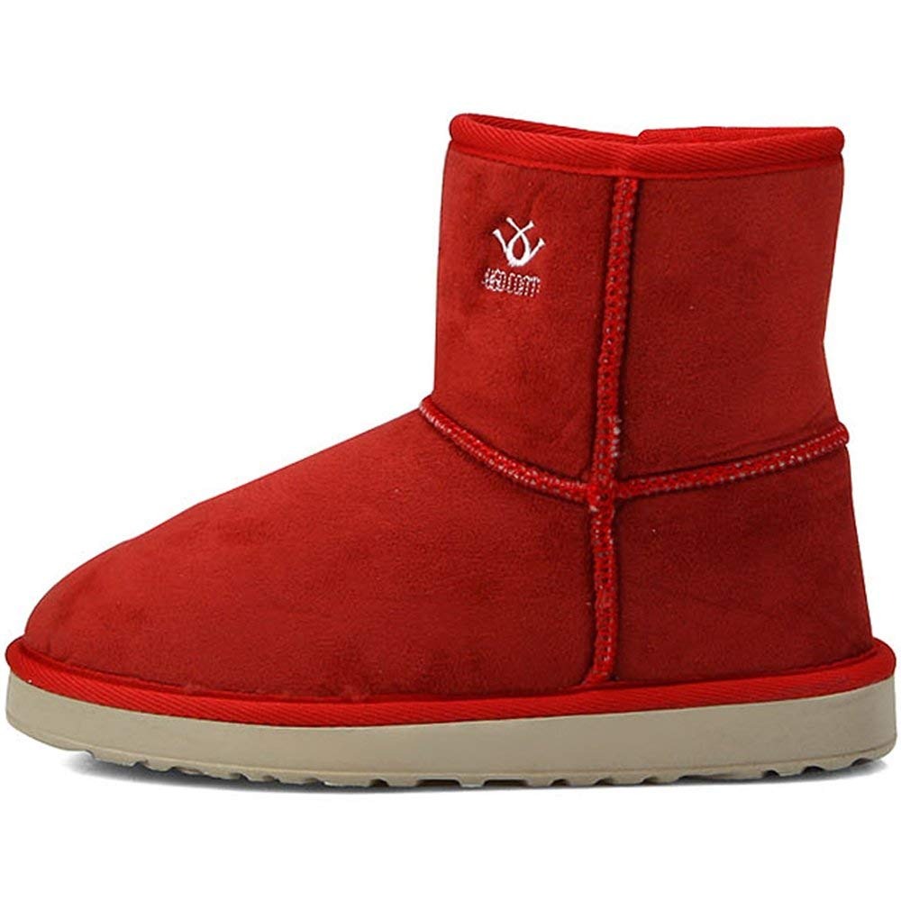 New Premium Red Faux Suede Fur Snow Winter Womens Short Boots