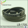Fashion jewelry metal rhinestone leather wrist band