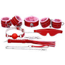 7sets BDSM Set Pulsh Leather Flirting SM Bondage Kit For Gay Couples Sex Game