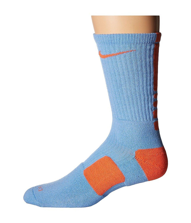 968f1276d38 Get Quotations · Nike Elite Basketball Crew Light Blue Turf Orange Turf  Orange Crew Cut Socks Shoes
