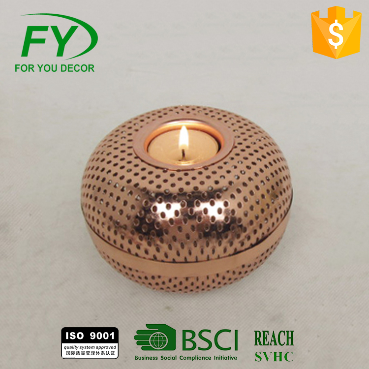 Ch-31717 Round Table And Wedding Decoration Metal Candle Holder, Antique Candle Holder, Mini Candle With Copper Finish
