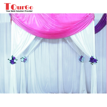 Tourgo White Wedding Backdrop Stage Curtains Sparking Decoration