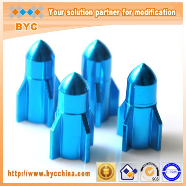 BYC Best Selling Car Tire Blue Rocket Valve Caps