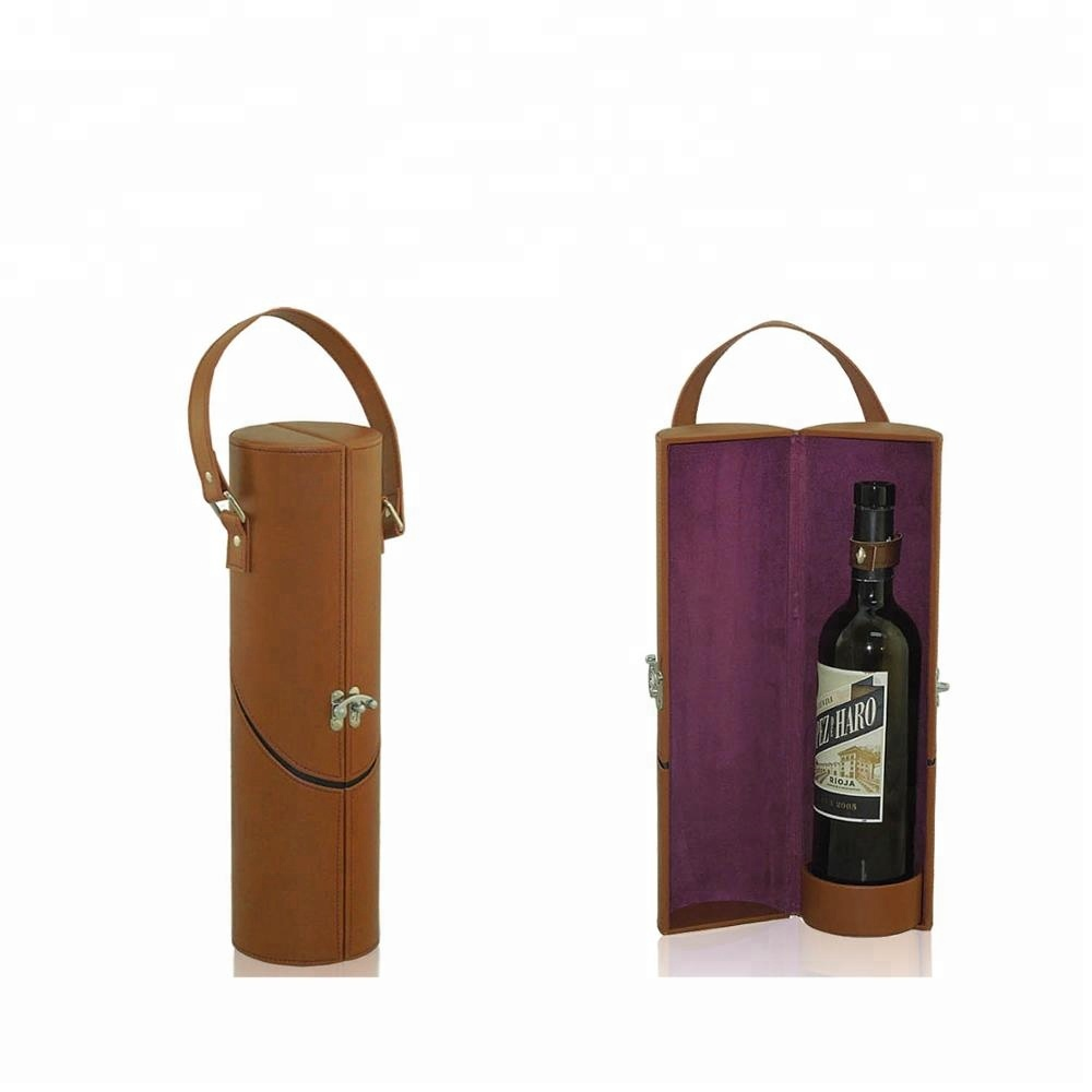 Luxury cylindrical PU leather gift wine box single bottle in button